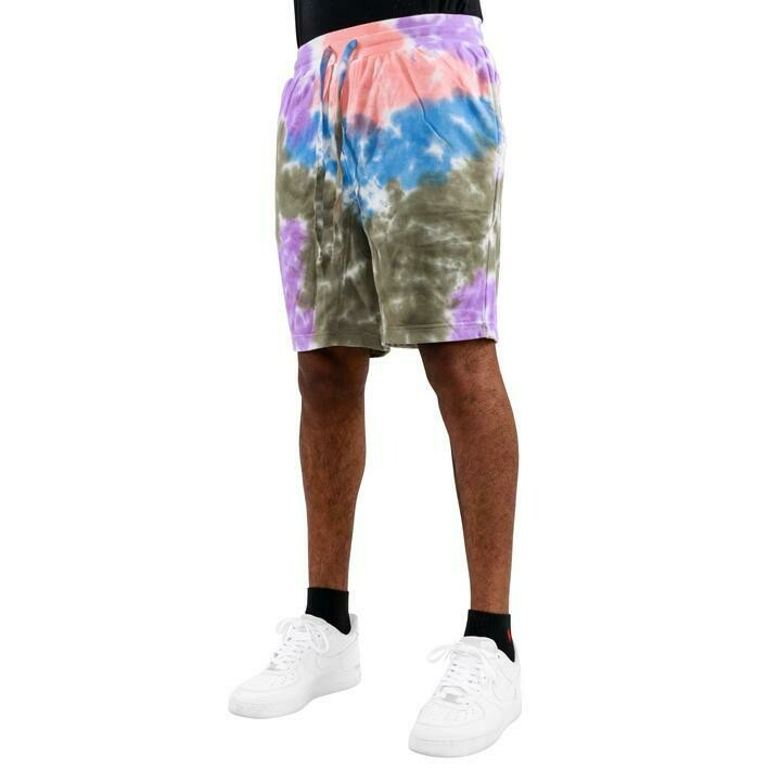 EPTM OLIVE/PINK/PURPLE-TIE DYE SHORTS