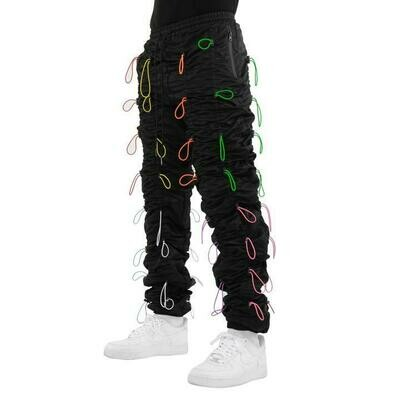 EPTM BLACK/MULTI-ACCORDION PANTS