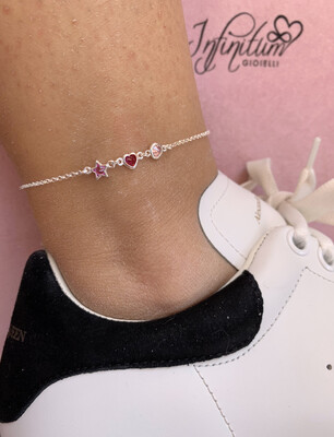 Cavigliera Punti Luce Rosa