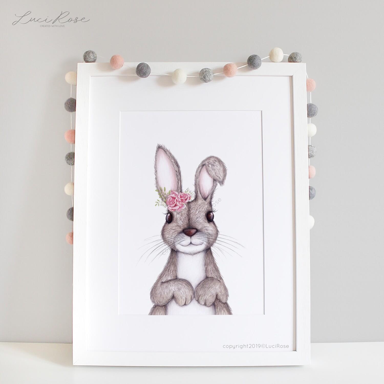 Flossie Bunny Girls Art Bedroom Decor