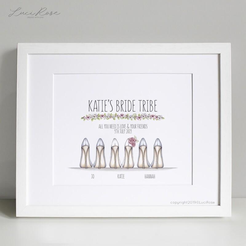 Bride & Bridesmaid Heel Personalised Print