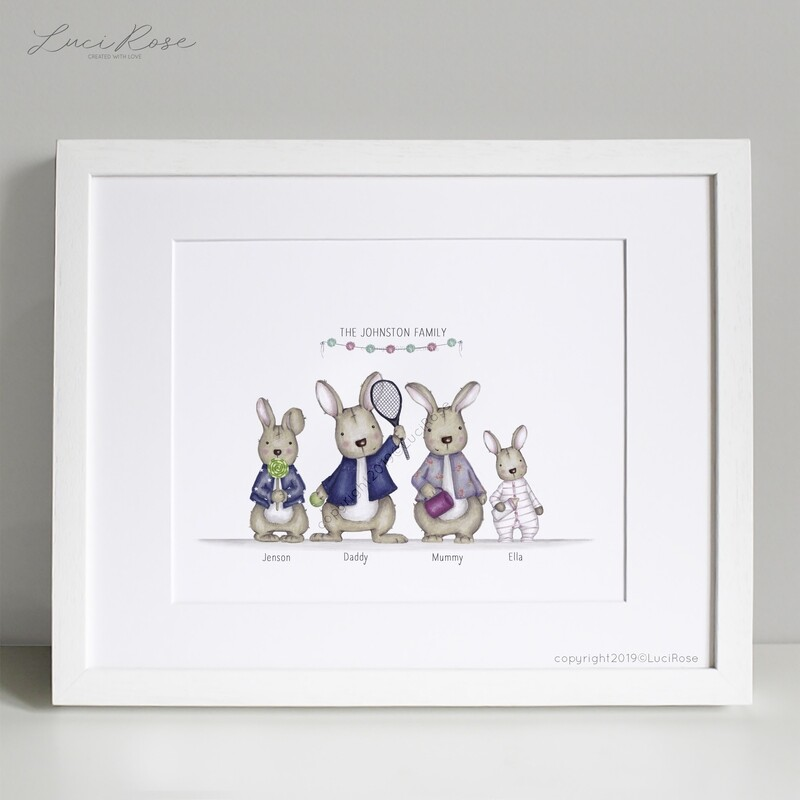 Bunny Family Personalised Print