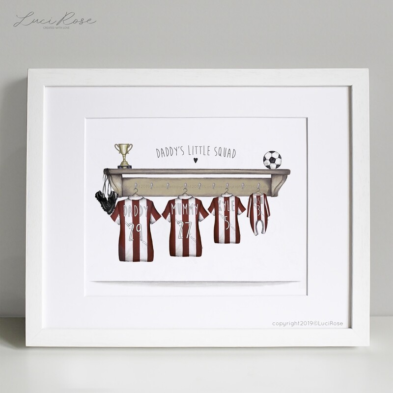 Football Kit Daddy's Little Squad Personalised Print
