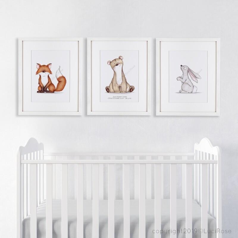Unisex Woodland Nursery Art Set