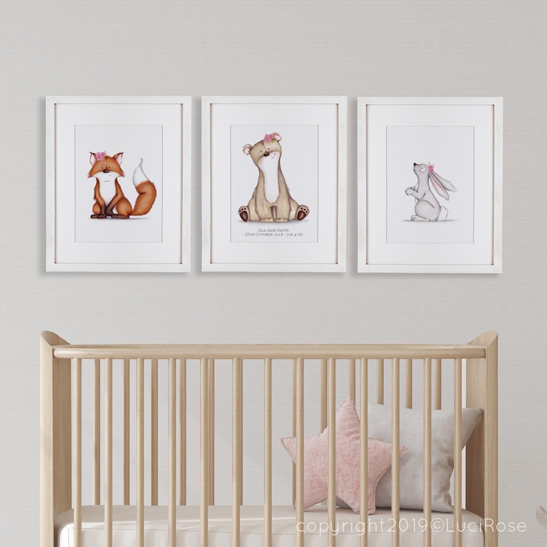 Girl's Woodland Nursery Art Set