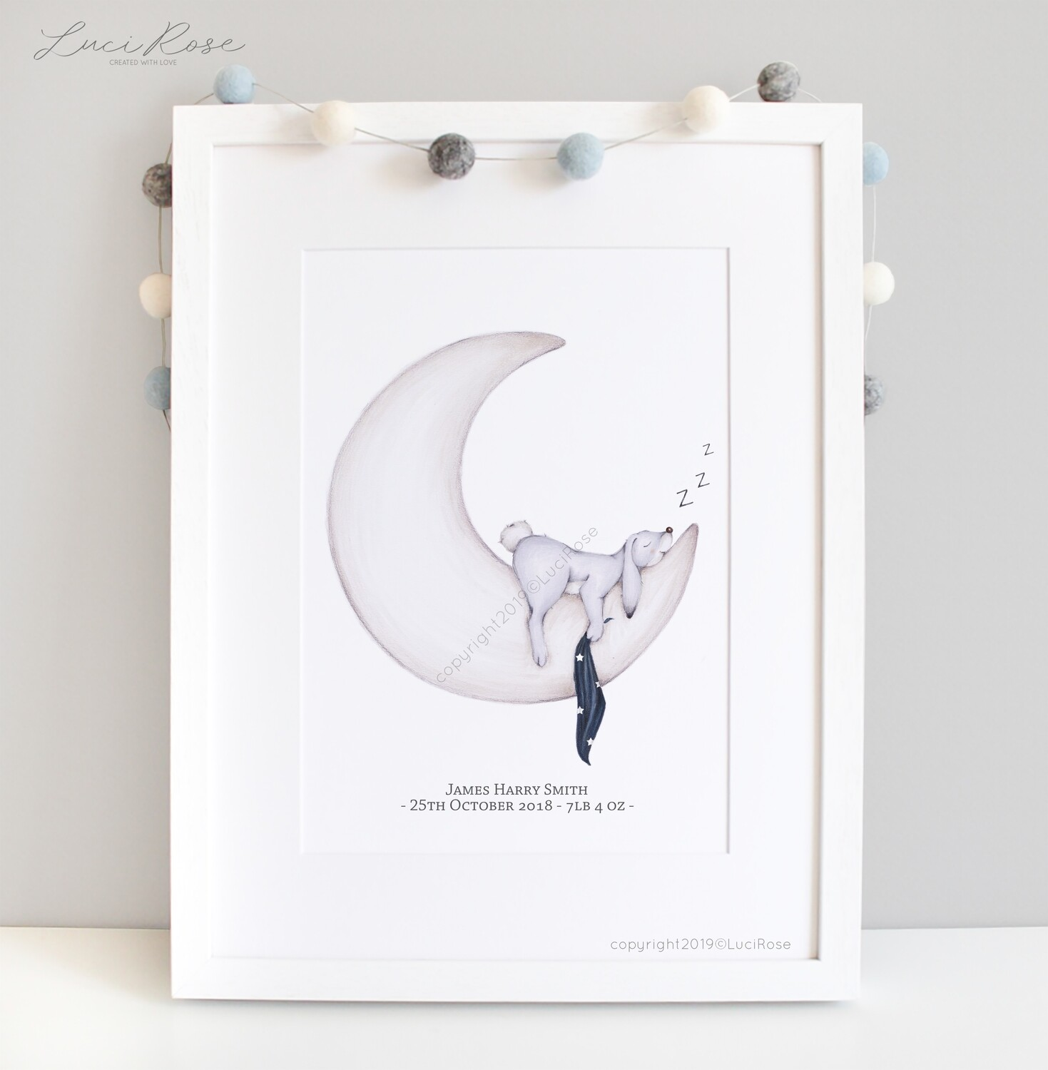 Night night, sleep tight sleeping bunny Children's Nursery Art