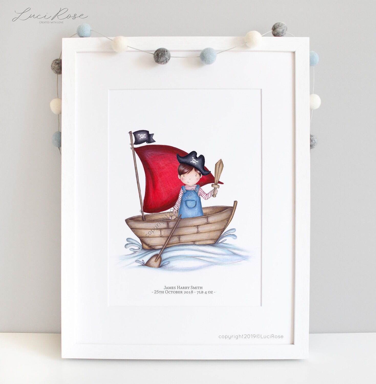 Pirate Boat Children's Nursery Art