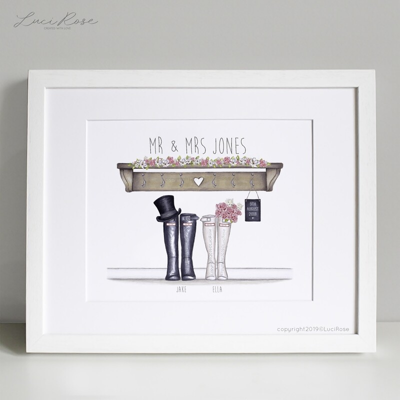 Personalised Wedding Wellington Boot Print