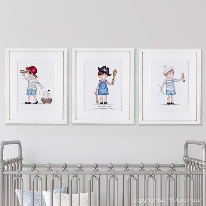 Ahoy! Pirate Children's Nursery Art Set