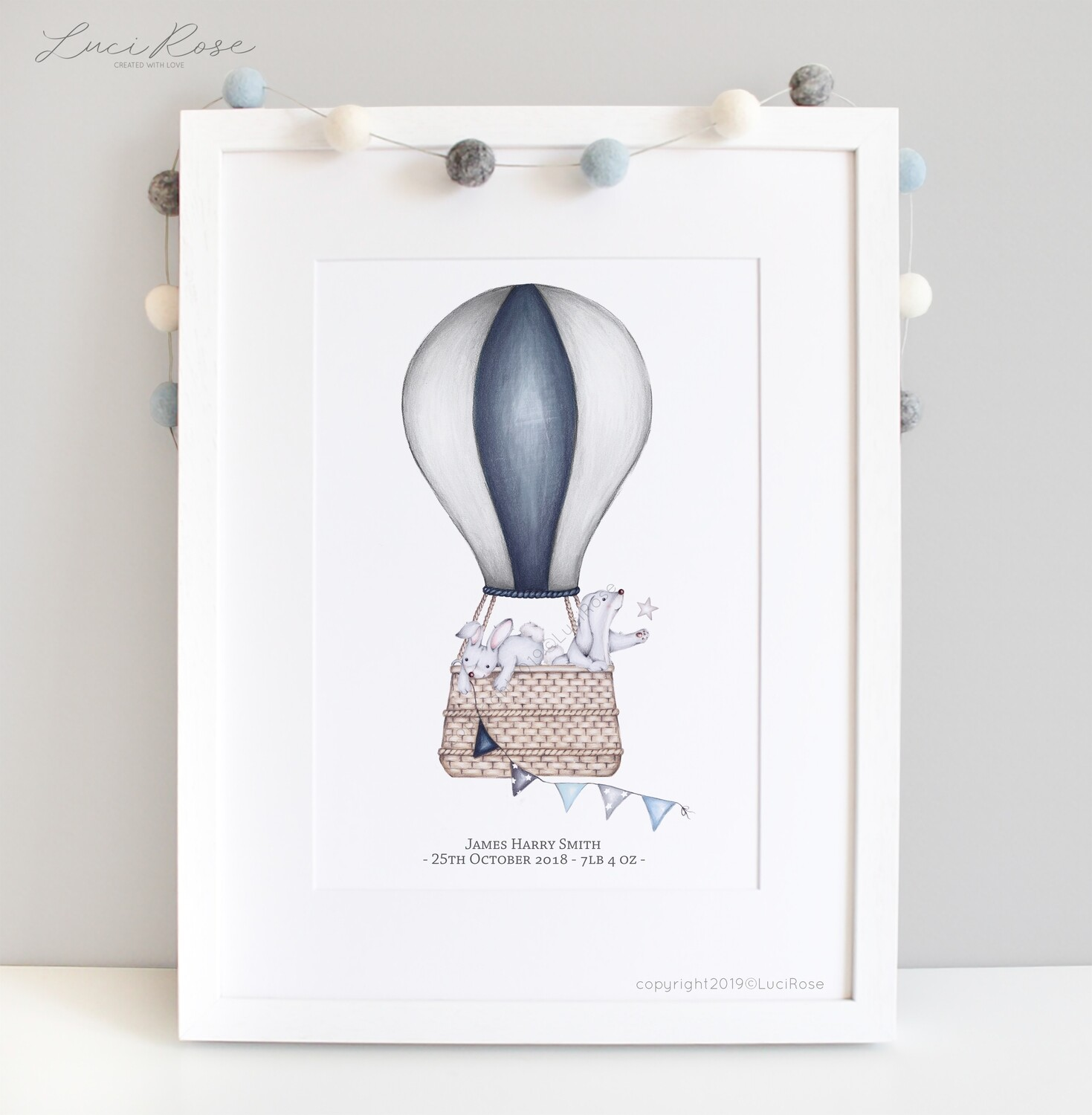 Up Up Up and Away Balloon Ride Nursery Art