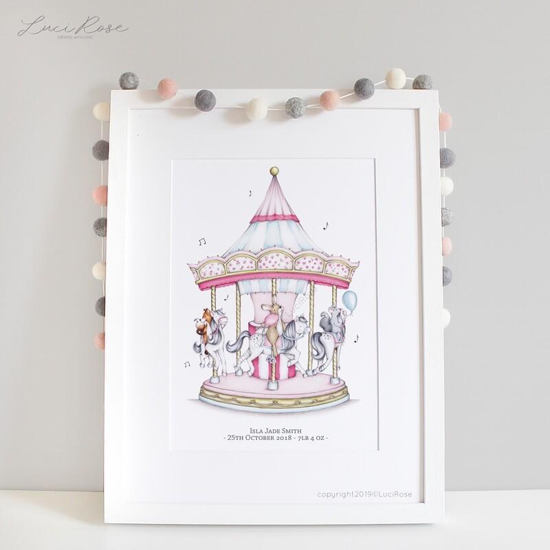 Carousel Fun Girls Nursery Art