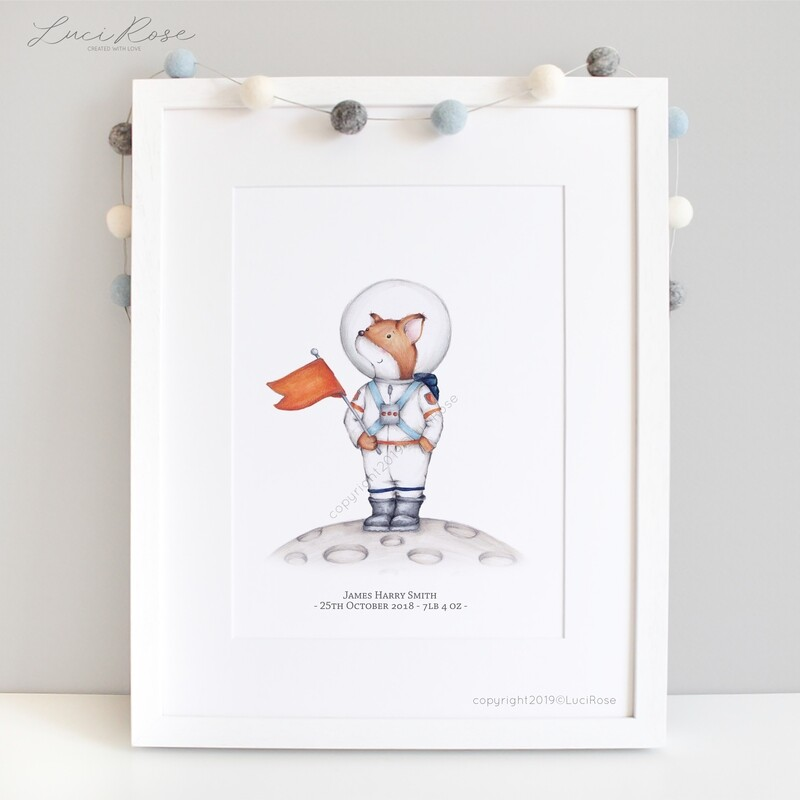 Sully The Space Explorer Children's Space Themed Nursery Art