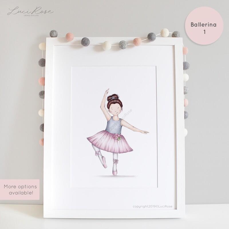 Bonnie Ballerina Girls Nursery Art