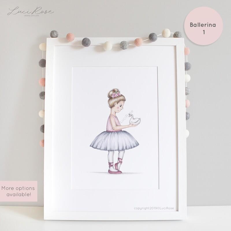 Beatrix Ballerina Girls Nursery Art