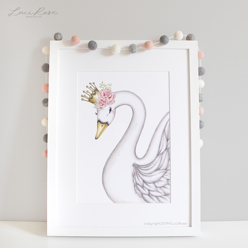 Queen Sofia Swan Collection Nursery Art - White