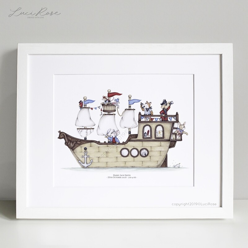 Pirate Quest Children's Pirate Ship Nursery Art