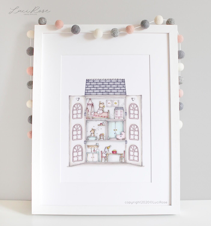 Blossom Cottage Doll House Nursery Art