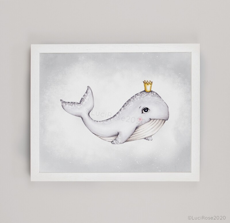Wilby the Whale Children's Nursery Art