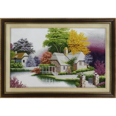 Stamped Cross Stitch Kit House by the lake in winter