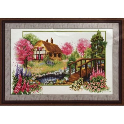 Stamped Cross Stitch Kit House and Pond in Spring