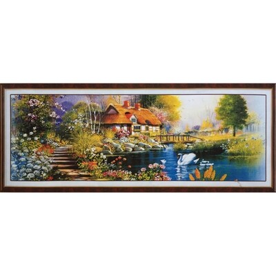 Stamped Cross Stitch Kit Cottage by the pond