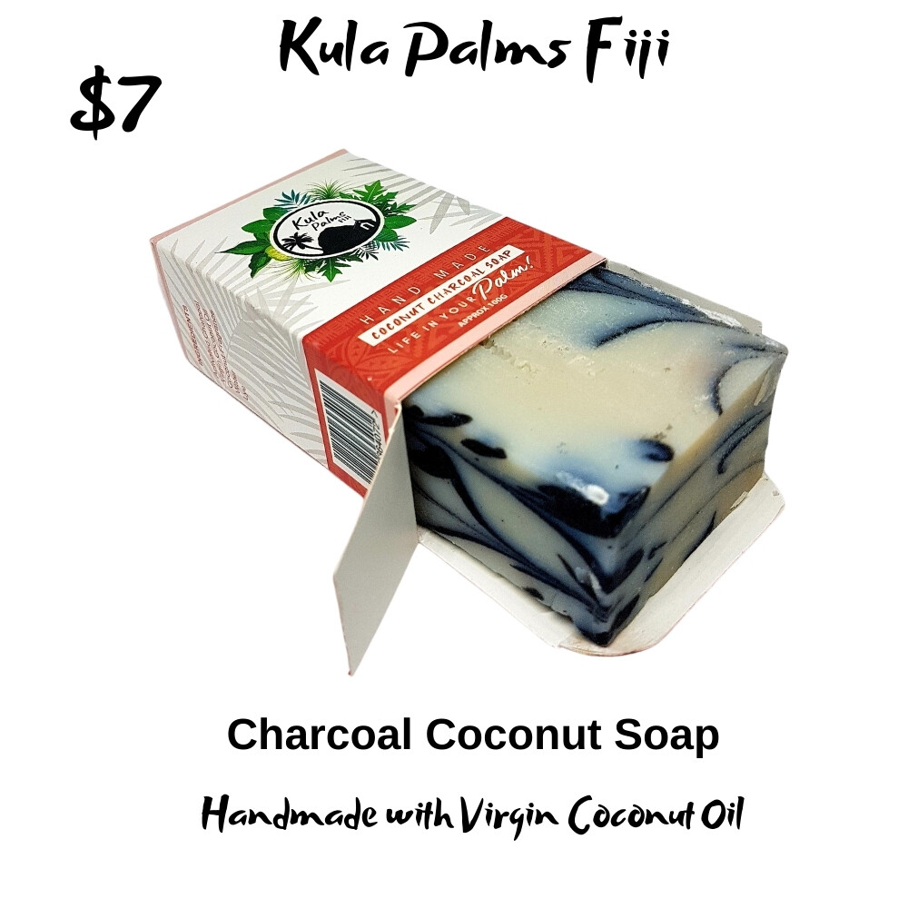 Coconut Swirl Charcoal Soap - Infused with Coconut Oil - Organic Skincare