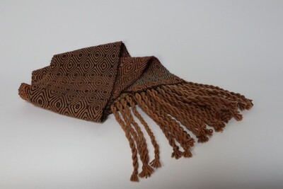 Walnut hull dyed scarf with jewel colored weft