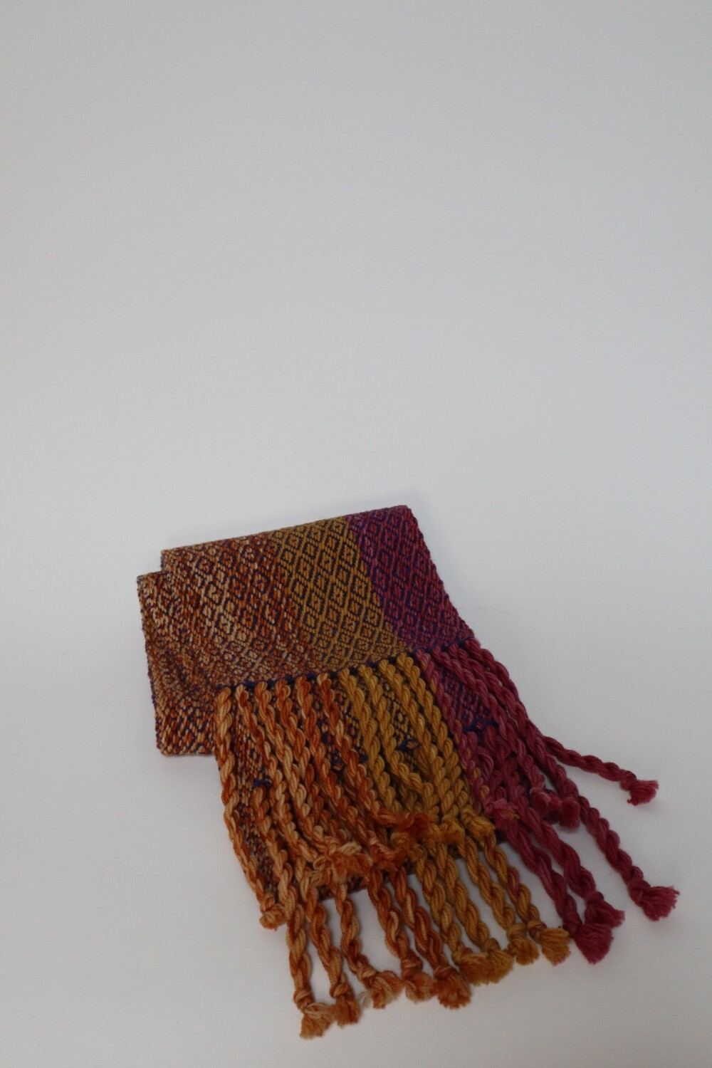 Osage orange and cochineal dyed scarf