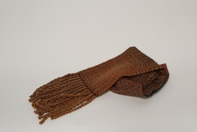 Walnut hulled dyed scarf with jewel toned yarn