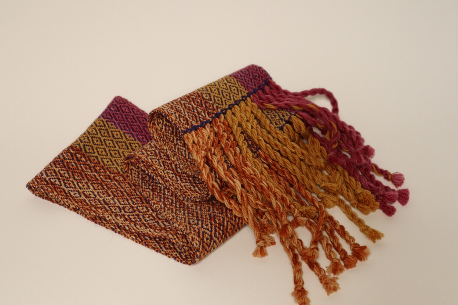 Cochineal and osage orange dyed scarf