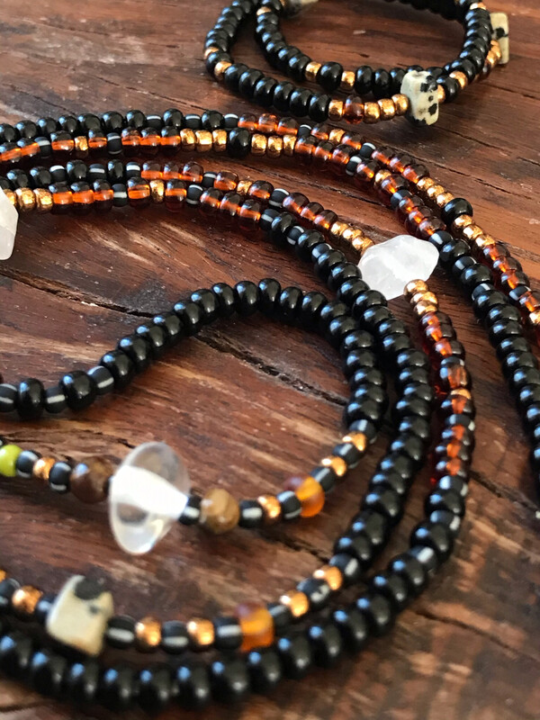 Waistbeads And Anklet Set For Root + Heart + Crown Chakra