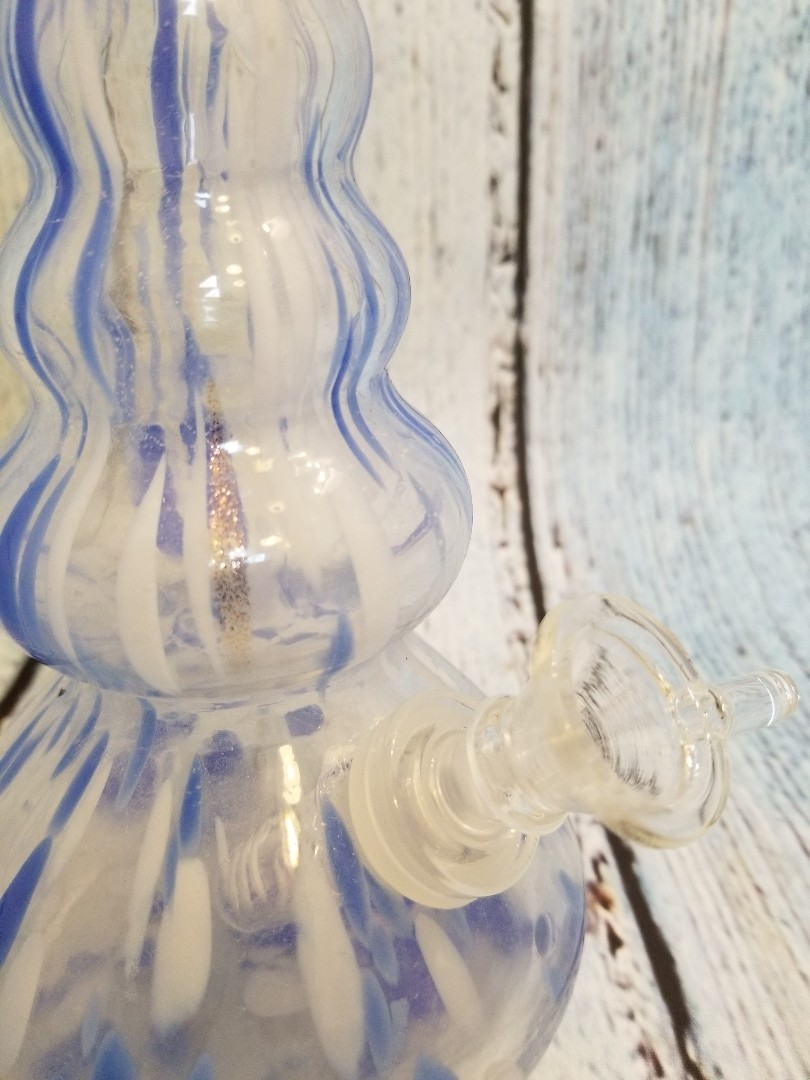 WATERPIPE BUBBLE VASE BLUE/WHITE