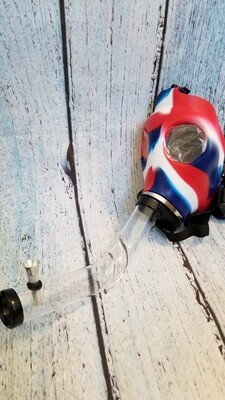 Gas Mask Red White And Blue