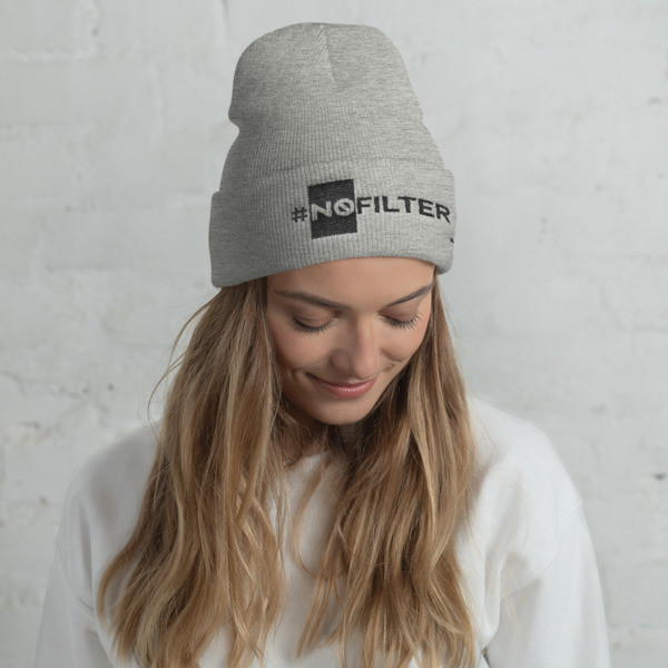 """No Filter"" Embroidered Cuffed Beanie"