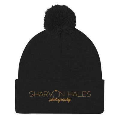 SHP Embroidered Black Pom-Pom Beanie