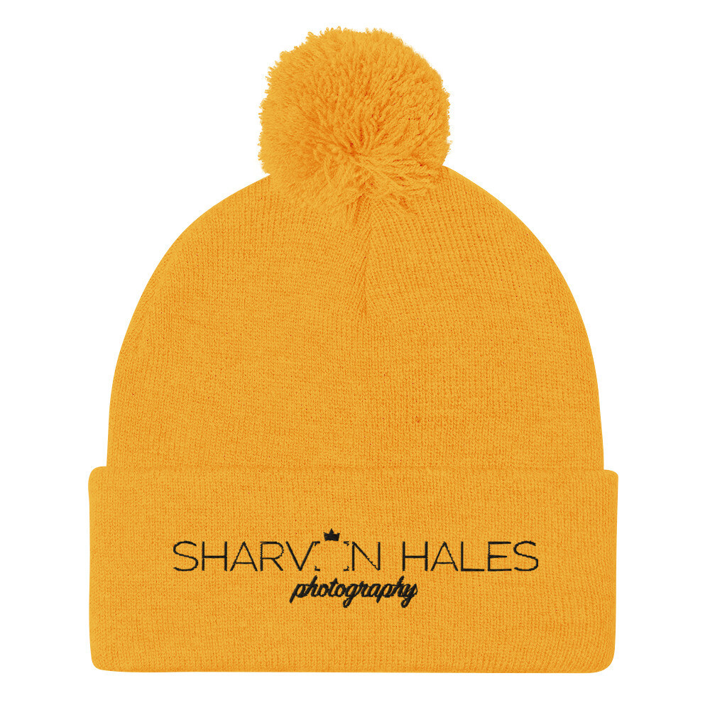 SHP Embroidered Gold Pom-Pom Beanie