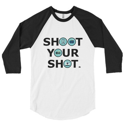 """Shoot Your Shot"" 3/4 sleeve raglan shirt - White"