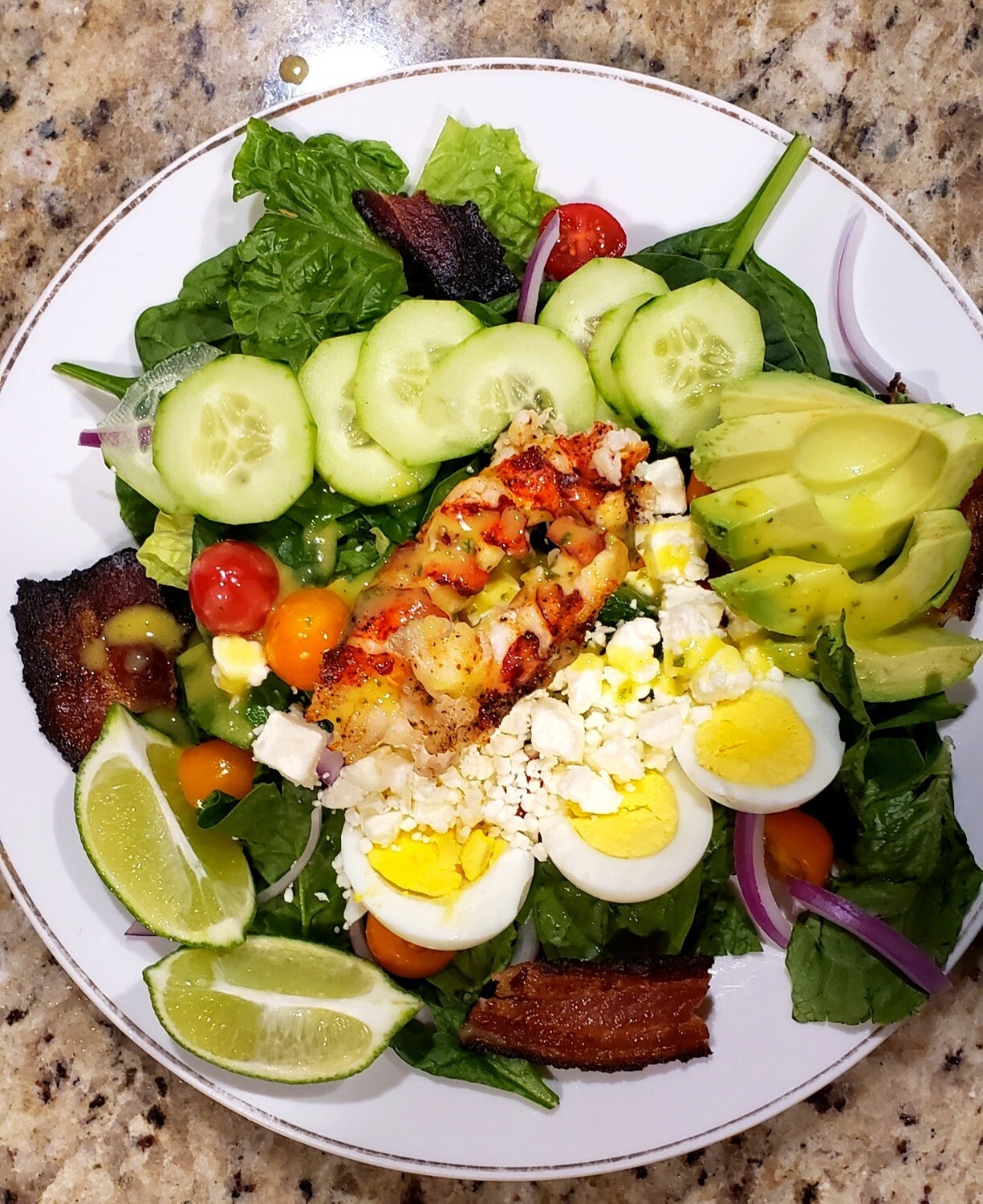 RECIPE : : Lobster or Shrimp Cobb Salad with Homemade Citrus Mango Basil Vinaigrette