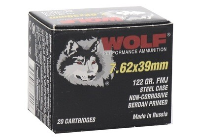 Wolf Performance 7.62x39mm Ammo 122 Grain FMJ Steel Case 1000 Rounds