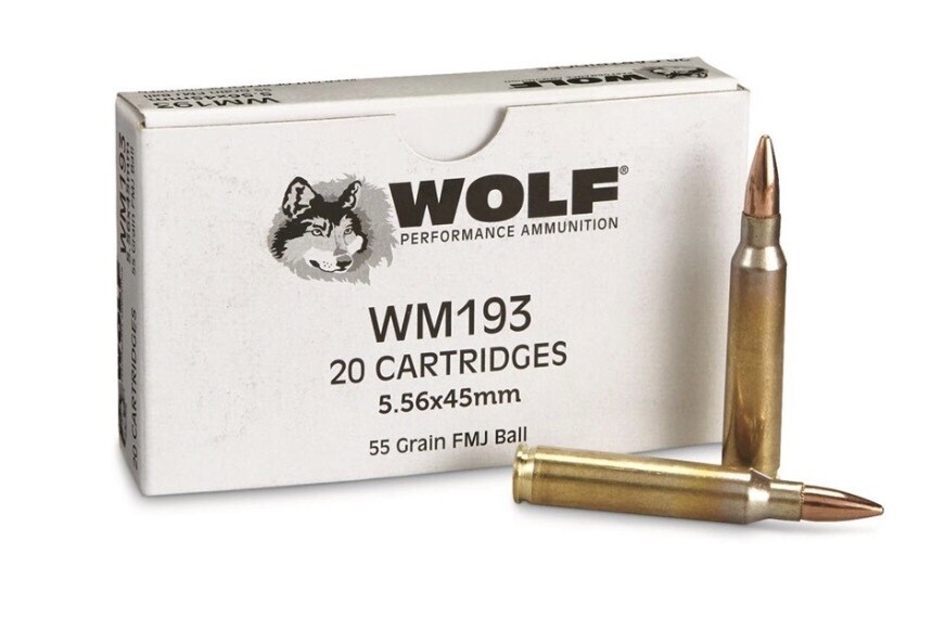 Wolf Gold 5.56MM NATO M193  55 Grain FMJ 1000 Round Case