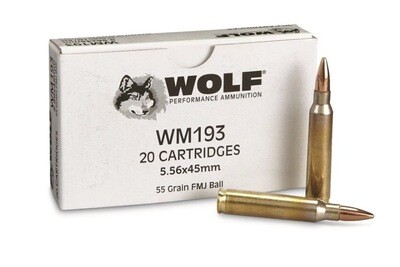 Wolf Gold 5.56MM NATO M193  55 Grain FMJ 1000 Round Case