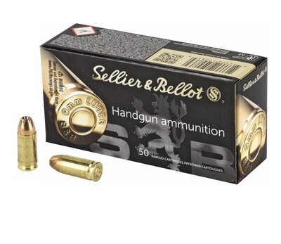 Sellier & Bellot, Pistol, 9MM, 124 Grain, Jacketed Hollow Point, 50 Round Box