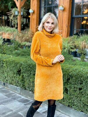 Платье Плюшевое, горчица