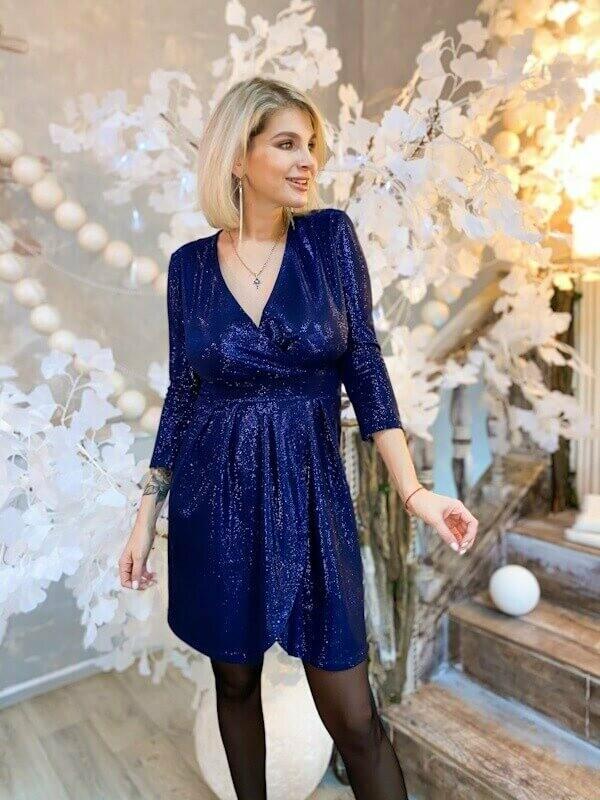 Платье на запах синий лунный