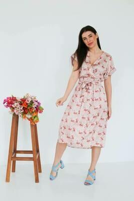 """Платье """"На запах Лето"""" Беж цветы"""
