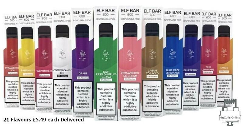 5x Elf Bar Disposable Vape Pen upto 600 Puffs