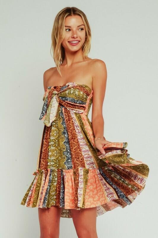 Paisley Patchwork Strapless Ruffle Dress