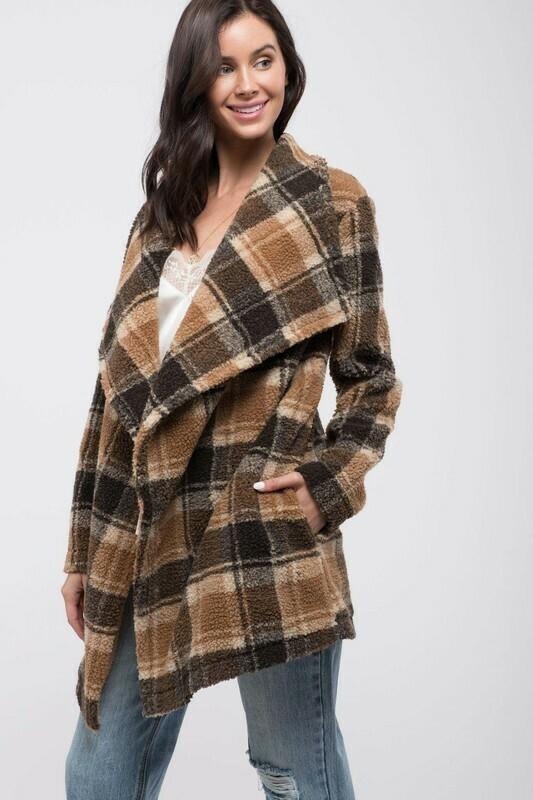 Faux Shearling Plaid Coat
