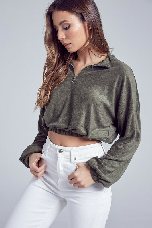 Cropped Zip Up Top
