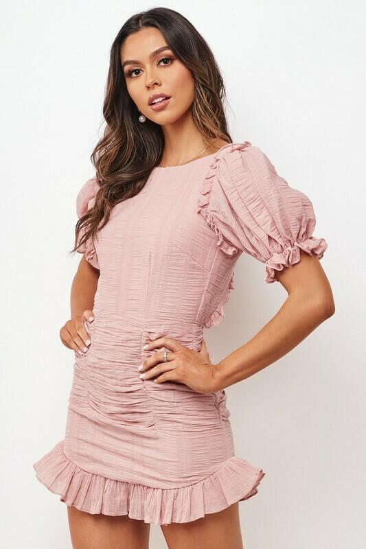 Puff Sleeve Textured Dress